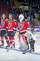 KELOWNA, CANADA - OCTOBER 14: The Pepsi Save On Foods Player of the Game stands on the ice with the starting line up against the Saskatoon Blades on October 14, 2016 at Prospera Place in Kelowna, British Columbia, Canada.  (Photo by Marissa Baecker/Shoot the Breeze)  *** Local Caption *** Pepsi Player;