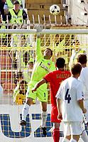 Fotball , 6. juni 2009 VM-kvalifisering , Norge - Makedonia<br /> Jon Knudsen (L) Norway and Ilcho Naumoski (c) FYR Macedonia<br /> WC-qual.<br /> Norway - Macedonia