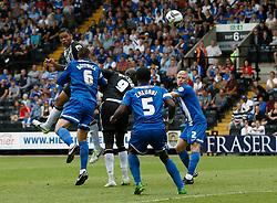 Notts County's Dean Leacock scores the first goal  - Photo mandatory by-line: Matt Bunn/JMP - Tel: Mobile: 07966 386802 10/08/2013 - SPORT - FOOTBALL -  Meadow Lane - Nottinghamshire -  Notts County v Peterborough United - Sky Bet League 1