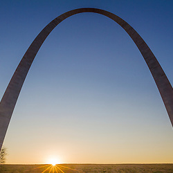 The Gateway Arch in St. Louis, Missouri at sunrise. Jefferson National Expansion Memorial.
