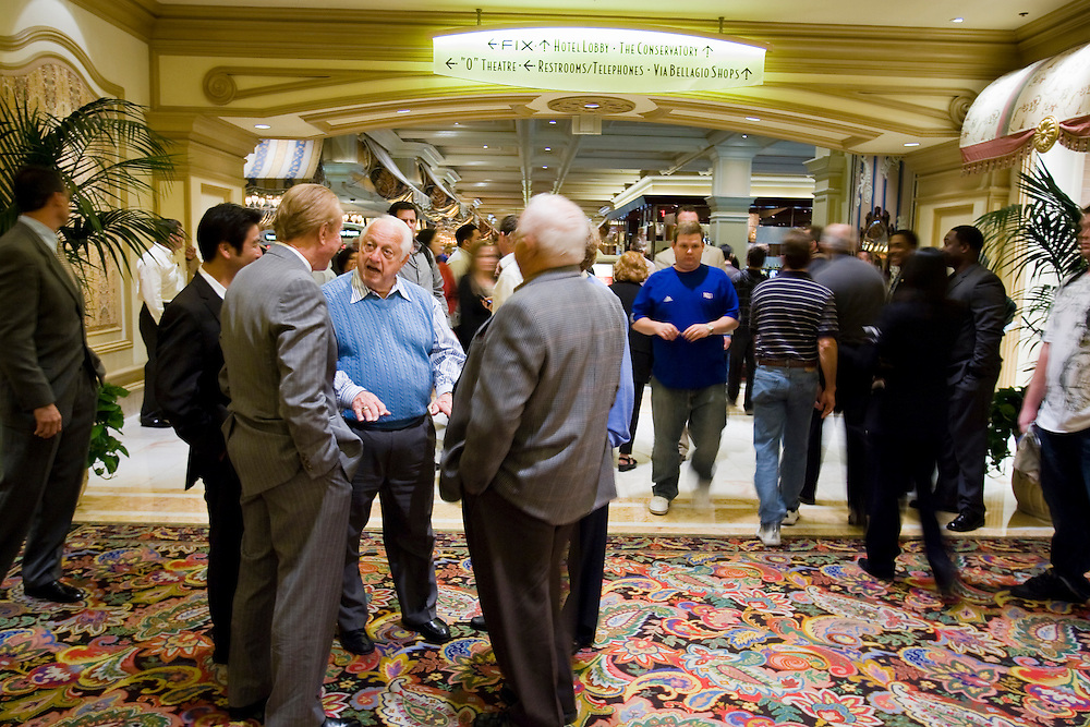 Tom Lasorda of the Los Angeles Dodgers does business during the MLB winter meetings in Las Vegas.
