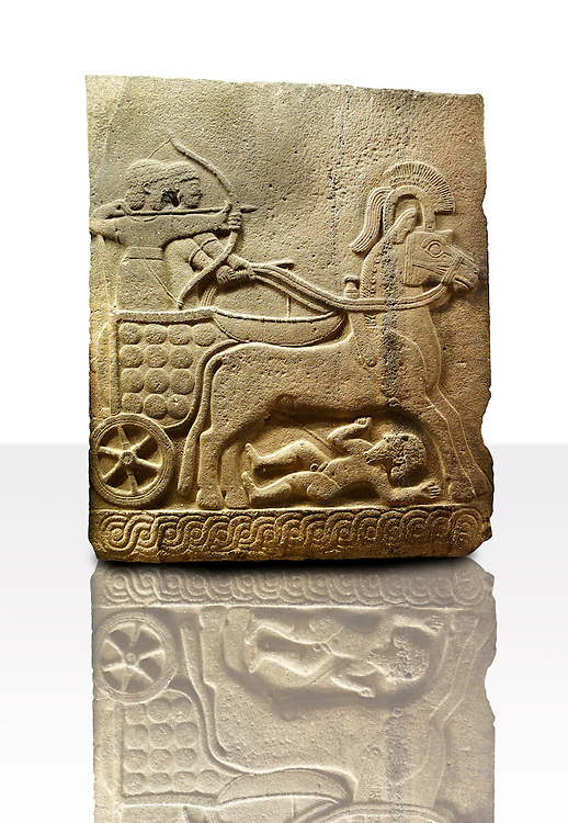 Picture & image of a Neo-Hittite orthostat with a chariot Releif sculpture from Karkamis,, Turkey.Museum of Anatolian Civilisations, Ankara. The Cahiot is pulled by horses with plumed headresses. One man os about to shoot an arrow from his bow, the other man is driving the cahriot. Below the horse is a man dying. 4
