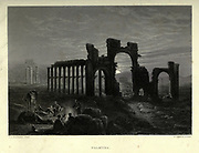 Engraving on steel of ruins at sun set at Palmyra, Syria from Picturesque Palestine, Sinai and Egypt by Wilson, Charles William, Sir, 1836-1905; Lane-Poole, Stanley, 1854-1931 Volume 2. Published in New York by D. Appleton in 1881-1884