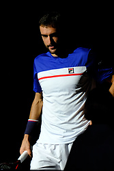November 3, 2017 - Paris, France - The Croatian player MARIN CILIC returns the ball to French player JULIEN BENNETEAU during the tournament Rolex Paris Master at Paris AccorHotel Arena Stadium in Paris France.Julien Benneteau won 7-6 7-5. (Credit Image: © Pierre Stevenin via ZUMA Wire)