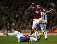Photo: Paul Thomas.<br /> Aston Villa v Chelsea. The Barclays Premiership. 02/01/2007.<br /> <br /> Geremi (L) of Chelsea slides into try and tackle Milan Baros.