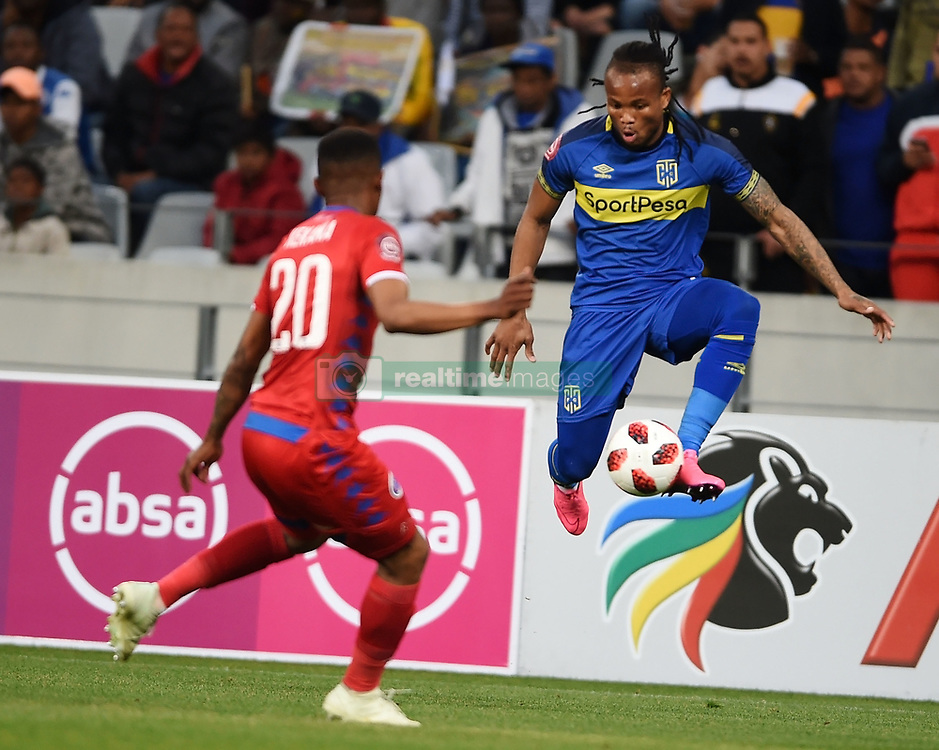 Cape Town-180804 Cape Town City defender Edmilson Dove challenged by Grant Kekan  of Supersport in the first game of the 2018/2019 season at Cape Town Stadium.photograph:Phando Jikelo/African News Agency/ANAr