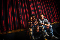 Washington, DC -- Daveed Diggs and Rafael Casal, right, lifelong friends and stars of the movie Blindspotting, at Busboys and Poets in Washington, DC.  Photo by Jack Gruber, USA TODAY