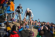 SHOT 1/12/14 3:46:05 PM - Ryan Trebon (#4) of Bend, Ore. competes in the Men's Elite race at the 2014 USA Cycling Cyclo-Cross National Championships at Valmont Bike Park in Boulder, Co. Trebon finished second in the race with a time of 59:59. (Photo by Marc Piscotty / © 2014)