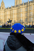 Activists protest outside the Houses of Parliament on the 11th December 2018 in central London in the United Kingdom. Pro-Brexit and Anti Brexit campaigners congregate on the day of the proposed Brexit vote.