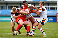 Bradford Bulls hooker Sam Hallas (29), Bradford Bulls prop Jon Magrin (15) and Bradford Bulls centre Lee Smith (1) all in the tackle during the Kingstone Press Championship match between Sheffield Eagles and Bradford Bulls at, The Beaumont Legal Stadium, Wakefield, United Kingdom on 3 September 2017. Photo by Simon Davies.