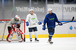 "Zan Us, Luka Kalan and Jurij Repe during practice session of Slovenian Ice Hockey National team before ""Beat Covid-19 Ice Hockey Tournament"", on May 12, 2021 in Hala Tivoli, Ljubljana, Slovenia. Photo by Vid Ponikvar / Sportida"