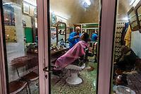 A barber shop in the Arab Souk, Old City, Jerusalem, Israel.