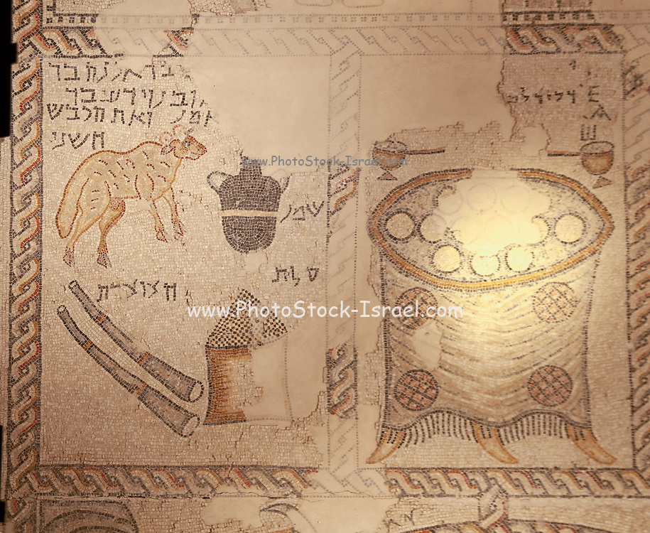 Israel, Galilee, Zippori National Park A mishnaic-period city with an abundance of mosaics. Details of the tools of the Temple Zodiac mosaic on the synagogue floor