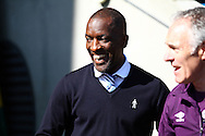 Huddersfield Town Manager Chris Powell smiles as he looks on prior to kick off. Skybet football league championship match, Huddersfield Town v Derby county at the John Smith's stadium in Huddersfield, Yorkshire on Saturday 18th April 2015.<br /> pic by Chris Stading, Andrew Orchard sports photography.