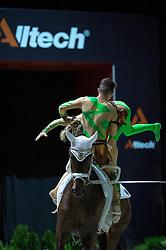 Pia Engelberty, Torben Jacobs, (GER), Danny Boy 25, Patric Looser - Pas de Deux Vaulting - Alltech FEI World Equestrian Games™ 2014 - Normandy, France.<br /> © Hippo Foto Team - Jon Stroud<br /> 04/09/2014