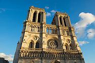 Front exterior of Notre Dame in Paris, France