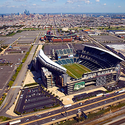 Aerial views of the Philadelphia Sports Venues; Lincoln Financial Field, home of the Eagles, Citizens Bank Park,