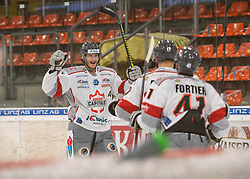 12.01.2021, Keine Sorgen Eisarena, Linz, AUT, ICE, iClinic Bratislava Capitals vs Black Wings 1992, 30. Runde, im Bild das Team der iClinic Bratislava Capitals feiert das 2 zu 0 durch David Buc (iClinic Bratislava Capitals) // during the bet-at-home ICE Hockey League 30th round match between iClinic Bratislava Capitals and Black Wings 1992 at the Keine Sorgen Eisarena in Linz, Austria on 2021/01/12. EXPA Pictures © 2020, PhotoCredit: EXPA/ Reinhard Eisenbauer