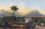 Capture of Monterey' hand-coloured lithograph after Carl Nebel.   Mexican-American War 1846-1848, Battle of Monterrey 21-24 September 1846.  Mexican Army of the North under General Pedro de Ampudia plus reinforcements including Irish-American volunteers (Saint Patrick's Batallion) were defeated by American forces under General Zachary Taylor.
