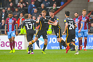 Eoin Doyle of Bradford City (9) scores a goal and celebrates to make the score 0-3 during the EFL Sky Bet League 1 match between Scunthorpe United and Bradford City at Glanford Park, Scunthorpe, England on 27 April 2019.