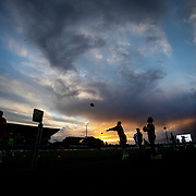 GALWAY, IRELAND:  October 01:  Bulls players warming up on a stormy evening in Galway, Ireland before the Connacht V Vodacom Bulls, United Rugby Championship match at The Sportsground on October 1st, 2021 in Galway, Ireland. (Photo by Tim Clayton/Corbis via Getty Images)