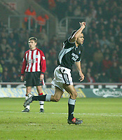 Photo. Andrew Unwin.<br /> Southampton v Newcastle United, FA Cup Third Round, Friends Provident St Marys Stadium, Southampton 03/01/2004.<br /> Newcastle's Kieron Dyer celebrates scoring his team's first goal.