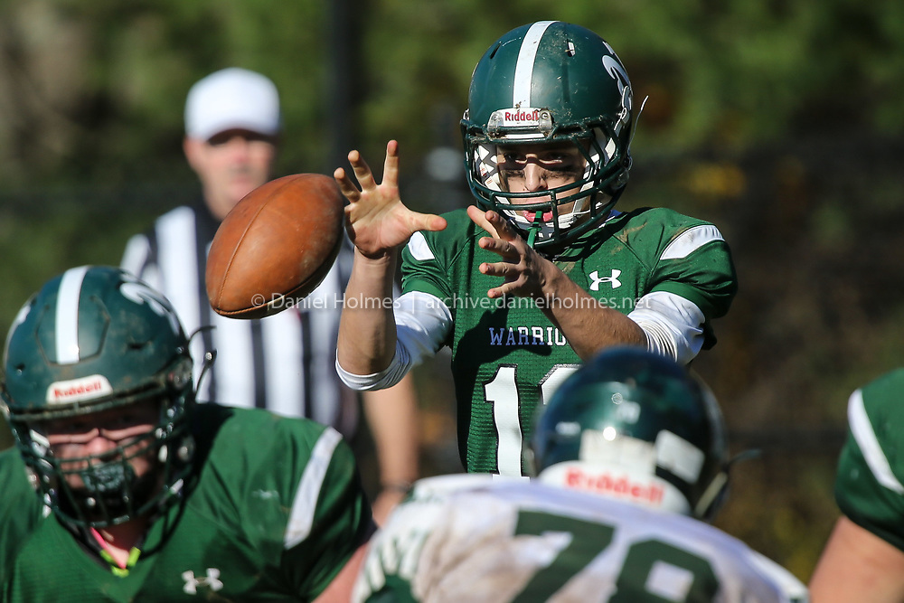 (11/4/18, UPTON, MA) Nipmuc's Judah Dishington  grabs the snap during the semifinals of the Division 5 Central playoffs against Oakmont at Nipmuc Regional High School in Upton on Sunday. [Daily News and Wicked Local Photo/Dan Holmes]