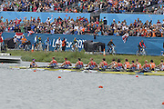 Eton Dorney, Windsor, Great Britain,..2012 London Olympic Regatta, Dorney Lake. Eton Rowing Centre, Berkshire[ Rowing]...Description;  Men's Eights Final...GBR.M8+ Alex PARTRIDGE (b) , James FOAD (2) , Tom RANSLEY (3) , Richard EGINGTON (4) , Mohamed SBIHI (5) , Greg SEARLE (6) , Matt LANGRIDGE (7) , Constantine LOULOUDIS (s) , Phelan HILL (c).USA.M8+ David BANKS (b) , Grant JAMES (2) , Ross JAMES (3) , William MILLER (4) , Giuseppe LANZONE (5) , Stephen KASPRZYK (6) , Jacob CORNELIUS (7) , Brett NEWLIN (s) , Zachary VLAHOS (c).NED.M8+. Sjoerd HAMBURGER (b) , Diederik SIMON (2) , Rogier BLINK (3) , Matthijs VELLENGA (4) , Roel BRAAS (5) , Jozef KLAASSEN (6) , Olivier SIEGELAAR (7) , Mitchel STEENMAN (s) , Peter WIERSUM (c)Dorney Lake. ..12:35:26  Wednesday  01/08/2012..[Mandatory Credit: Peter Spurrier/Intersport Images].