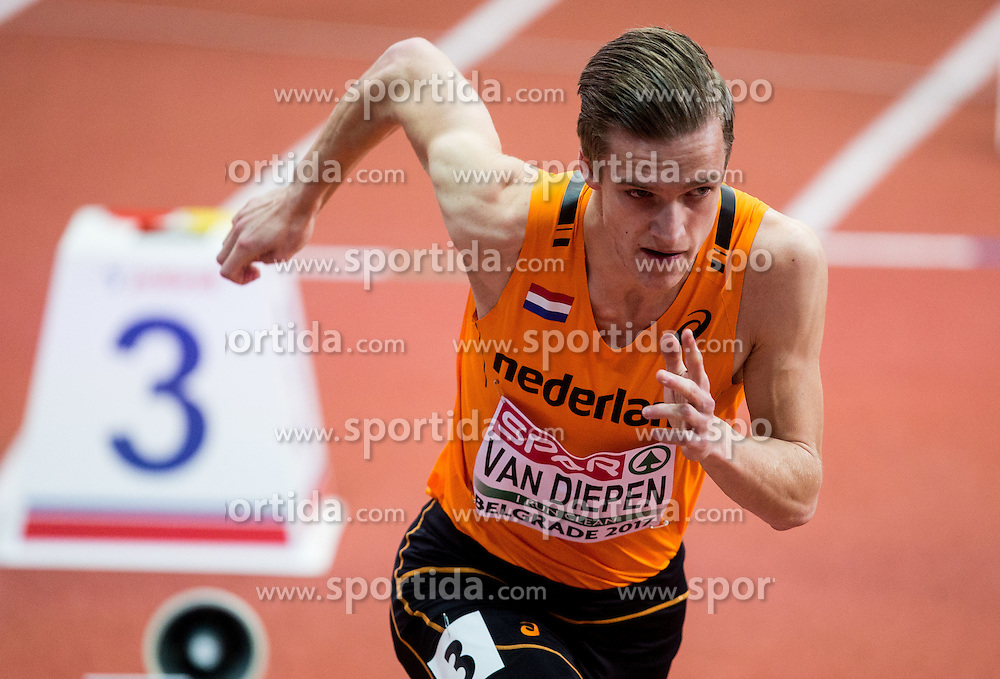 Tony van Diepen of Netherlands competes in the Men's 400 metres heats on day one of the 2017 European Athletics Indoor Championships at the Kombank Arena on March 3, 2017 in Belgrade, Serbia. Photo by Vid Ponikvar / Sportida