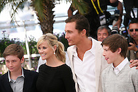 Actor Matthew McConaughey and actress Reese Witherspoon with Tye Sheridan and Jacob Lofland at the Mud photocall at the 65th Cannes Film Festival France. Saturday 26th May 2012 in Cannes Film Festival, France.