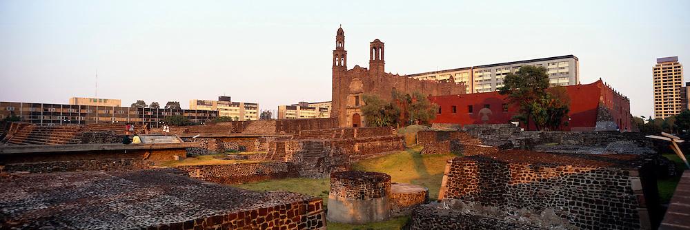 MEXICO, MEXICO CITY Plaza of Three Cultures with Aztec pyramid