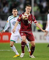 Fotball<br /> 18.03.2010<br /> Foto: Witters/Digitalsport<br /> NORWAY ONLY<br /> <br /> v.l. Fabian Johnson, Aleksandr Bukharov (Kasan)<br /> Europa League Achtelfinale VFL Wolfsburg - Rubin Kazan 2:1 n.V.