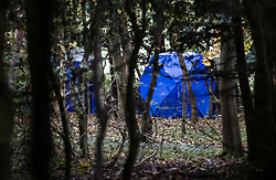 © Licensed to London News Pictures. 24/10/2020. Watlington Hill, UK. Police evidence tents are seen in woodland on Watlington Hill after the body of a woman was found on Friday 23rd October. An injured man was arrested by police near by after a man was seen acting suspiciously in nearby pub. Photo credit: Peter Macdiarmid/LNP