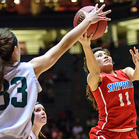 031215  Adron Gardner/Independent<br /> <br /> Shiprock Chieftain Lacey Howe (11), right,  attempts a field goal during a 4A New Mexico state basketball tournament semifinal against the Hope Christian Huskies at The Pit in Albuquerque Thursday.