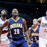 02 December 2015: Indiana Pacers center Ian Mahinmi (28) vies for the rebound with Los Angeles Clippers center DeAndre Jordan (6) and Los Angeles Clippers forward Luc Richard Mbah a Moute (12) during the Indiana Pacers 103-91 victory over the Los Angeles Clippers, at the Staples Center, Los Angeles, California, USA.