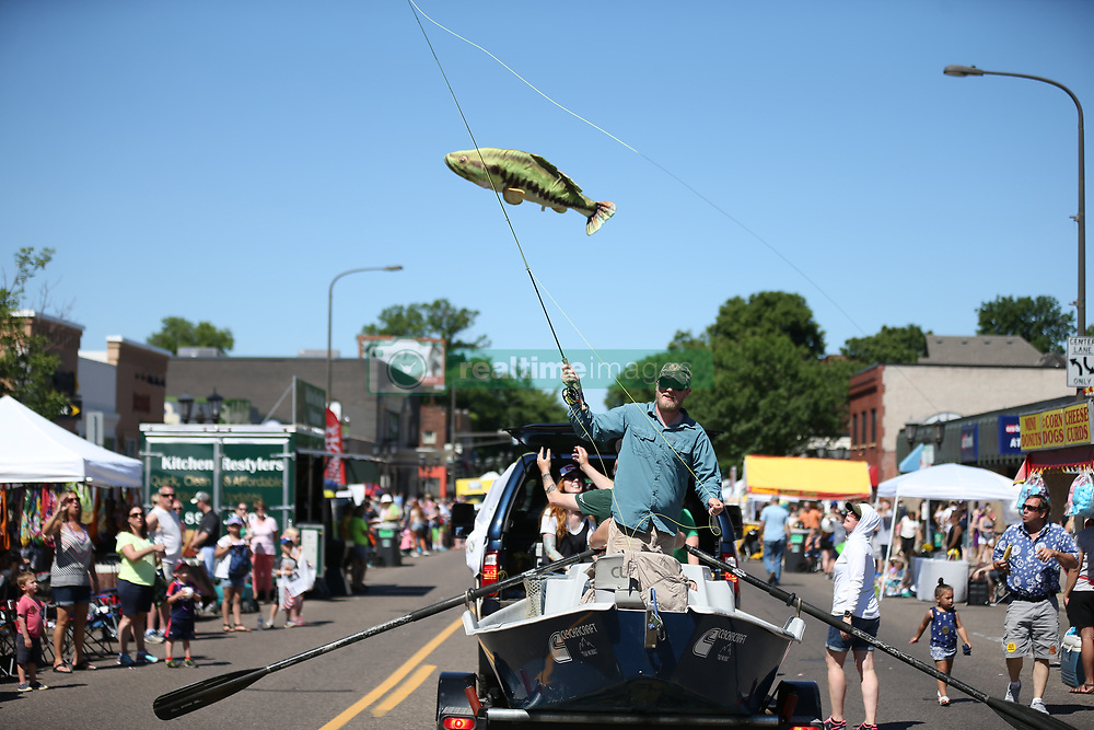 June 4, 2017 - St. Paul, Minnesota, USA - Evan Griggs a fly fishing guide and instructor at Bob Mitchell's Fly shop took an cast at the Grand Old Days celebration June 4 ,2017 in St. Paul, MN. ]  JERRY HOLT • jerry.holt@startribune.com. (Credit Image: © Jerry Holt/Minneapolis Star Tribune via ZUMA Wire)