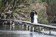 Israel, Northern District Ein Afek Nature Reserve on the Naaman River. Bride and groom being photographed