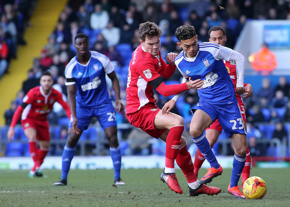 Ipswich Town's Andre Dozzell holds off the challenge from Blackburn Rovers' Sam Gallagher<br /> <br /> Photographer David Shipman/CameraSport<br /> <br /> The EFL Sky Bet Championship - Ipswich Town v Blackburn Rovers - Saturday 14th January 2017 - Portman Road - Ipswich<br /> <br /> World Copyright © 2017 CameraSport. All rights reserved. 43 Linden Ave. Countesthorpe. Leicester. England. LE8 5PG - Tel: +44 (0) 116 277 4147 - admin@camerasport.com - www.camerasport.com