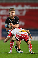 Rugby League - 2020 Betfair Super League - Semi-final - St Helens vs Catalan Dragons - TW Stadium<br /> <br /> Catalans Dragons's Tom Davis is tackled by St. Helens's Theo Fages<br /> <br /> COLORSPORT/TERRY DONNELLY
