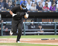 CHICAGO - AUGUST 24:  Jose Abreu #79 of the Chicago White Sox connects for his 1000th Major League hit against the Texas Rangers during Players Weekend on August 24, 2019 at Guaranteed Rate Field in Chicago, Illinois.  (Photo by Ron Vesely)  Subject:   Jose Abreu