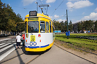 Tram in Ronald Reagan Central Square in Nowa Huta Krakow Poland