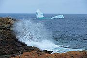 Waves crashing and cebergs floating in the Atlantic Ocean<br /> Cape Bonavista<br /> Newfoundland & Labrador<br /> Canada