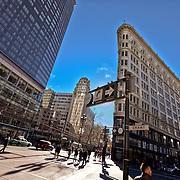 Flatiron Bulding at Grant and Market Streets, Mid-Market area of San Francisco.