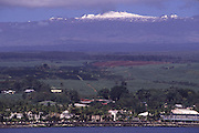 Hilo with snowcapped Mauna Kea in Background, Island of Hawaii<br />