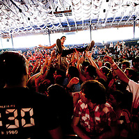 COLUMBIA, MD - SEPTEMBER 25: A crowd surfer catches a wave while Jimmy Eat World performs at the Virgin Mobile FreeFest at Merriweather Post Pavilion on September 25, 2010 in Columbia, Maryland.