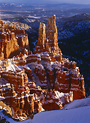 Snow-draped hoodoos, Paria View, Bryce Canyon National Park, Utah.