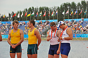 Shunyi, CHINA.  left, AUS M2X, left, David CRAWSHAY and Scott BREEAN Gold medalist men's double sculls, and GBR M2X, Matt WELLS and Steve ROWBOTHAM, at the 2008 Olympic Regatta, Shunyi Rowing Course.  Sat,.16.08.2008.  [Mandatory Credit: Peter SPURRIER, Intersport Images