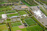 Nederland, Noord-Holland, Duivendrecht, 09-04-2014; Sportpark de Toekomst met rechts tenten van Cirque du soleil. Sportcomplex De Toekomst is de thuisbasis van AFC Ajax.<br /> The sports complex The Future, the home of AFC Ajax.<br /> luchtfoto (toeslag op standard tarieven);<br /> aerial photo (additional fee required);<br /> copyright foto/photo Siebe Swart