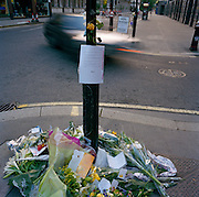 A memorial placed where young lawyer Alex Barlow died in a 2002 cycling accident on London Wall A1211, City of London..Supplied non-exclusive 26/3/12 to:.LouisaChadwick@leopardfilms.com.Leopard Films  .1-3 St Peters Street.Islington.London.N1 8JD.United Kingdom.+44 (0) 207 704 3300.+44 (0) 207 704 3301