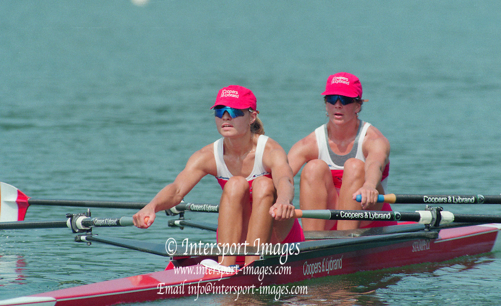 Lucerne, Switzerland. 1995 FISA WC III, Lake Rottsee, Lucerne,<br /> CAN W2X, Bow Marnie MCBEAN and Kathleen HEDDLE<br /> [Mandatory Credit. Peter SPURRIER/Intersport Images]<br /> <br /> Image scanned from Colour Negative
